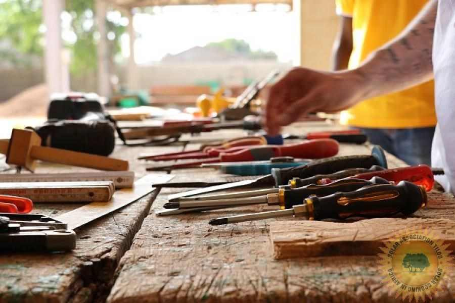 Gambia, Tiloo, carpentry workshop, set-up, tools